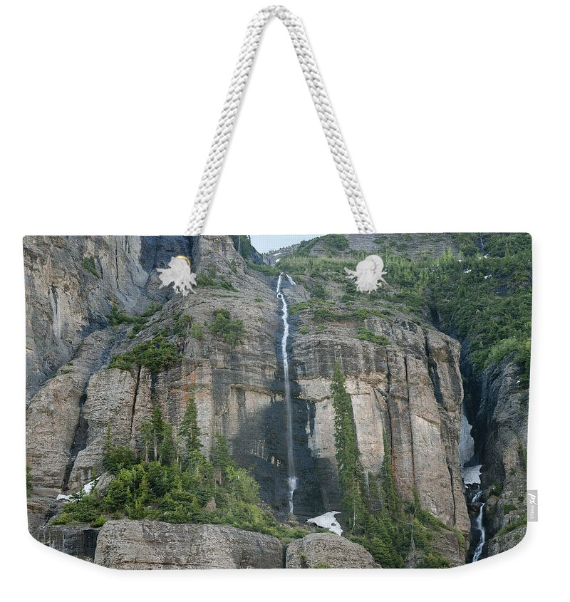 Awe Weekender Tote Bag featuring the photograph Colorado Waterfall by Melany Sarafis