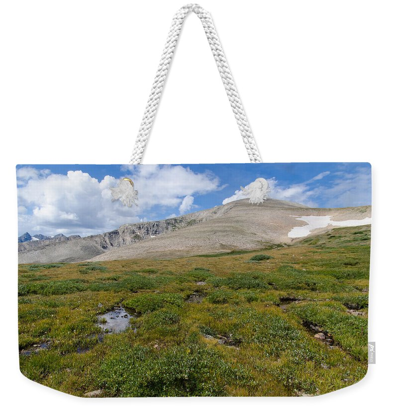 High Country Hiking Weekender Tote Bag featuring the photograph Colorado's Mt. Audoban by Robert VanDerWal