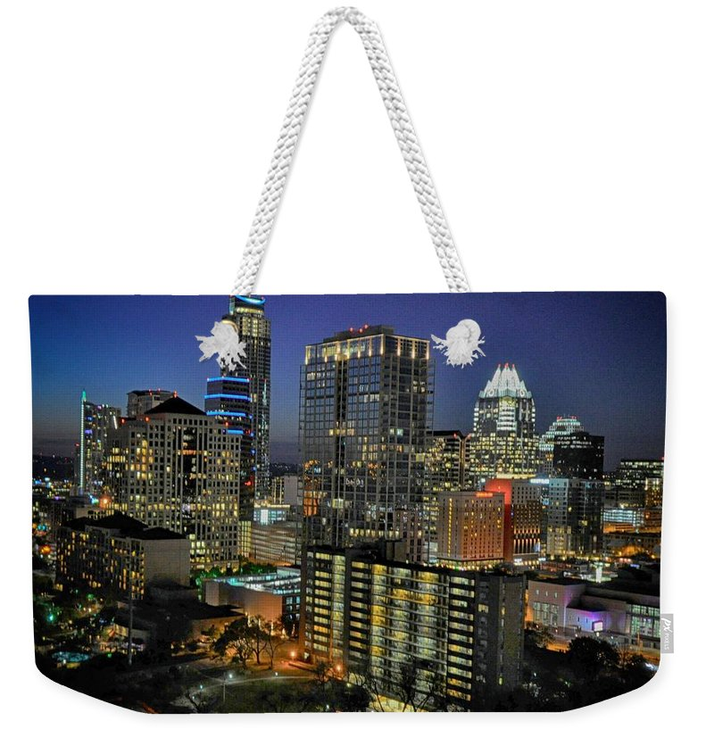 Architectural Weekender Tote Bag featuring the photograph Colorful Austin Skyline At Night by Kristina Deane