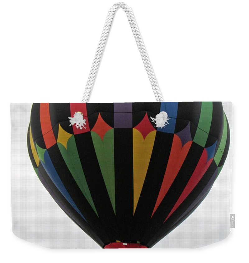 Hot Air Balloons Weekender Tote Bag featuring the photograph Colorful Black by Jamie Smith