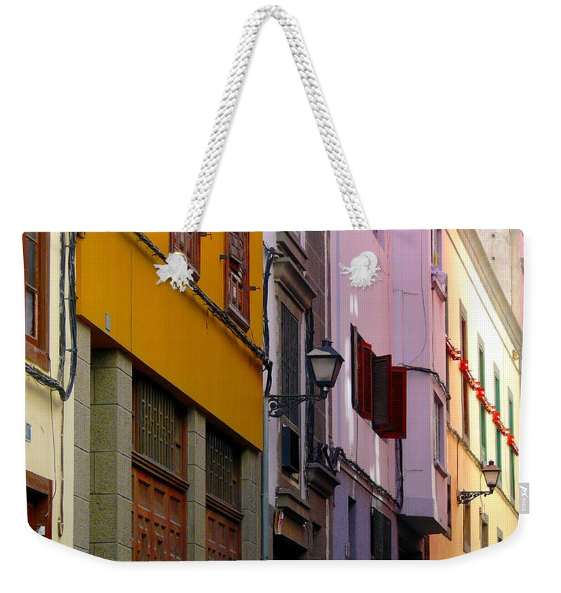 Las Palmas De Gran Canaria Weekender Tote Bag featuring the photograph Colorful Buildings by Tracy Winter