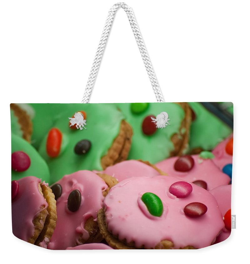 Cookie Weekender Tote Bag featuring the photograph Colorful Candy Faces by Michelle Wrighton