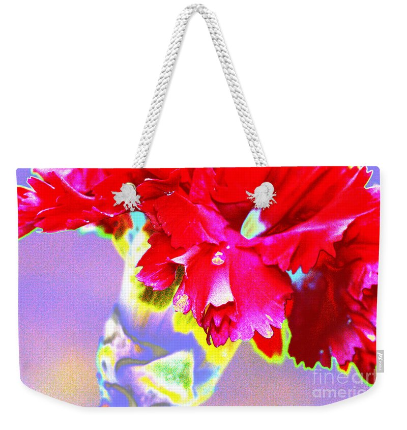 Color Weekender Tote Bag featuring the digital art Colorful Carnation by Carol Lynch