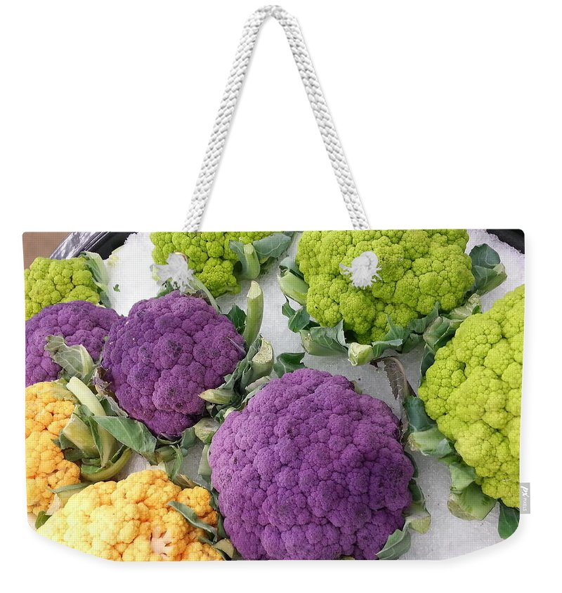 Purple Weekender Tote Bag featuring the photograph Colorful Cauliflower by Caryl J Bohn