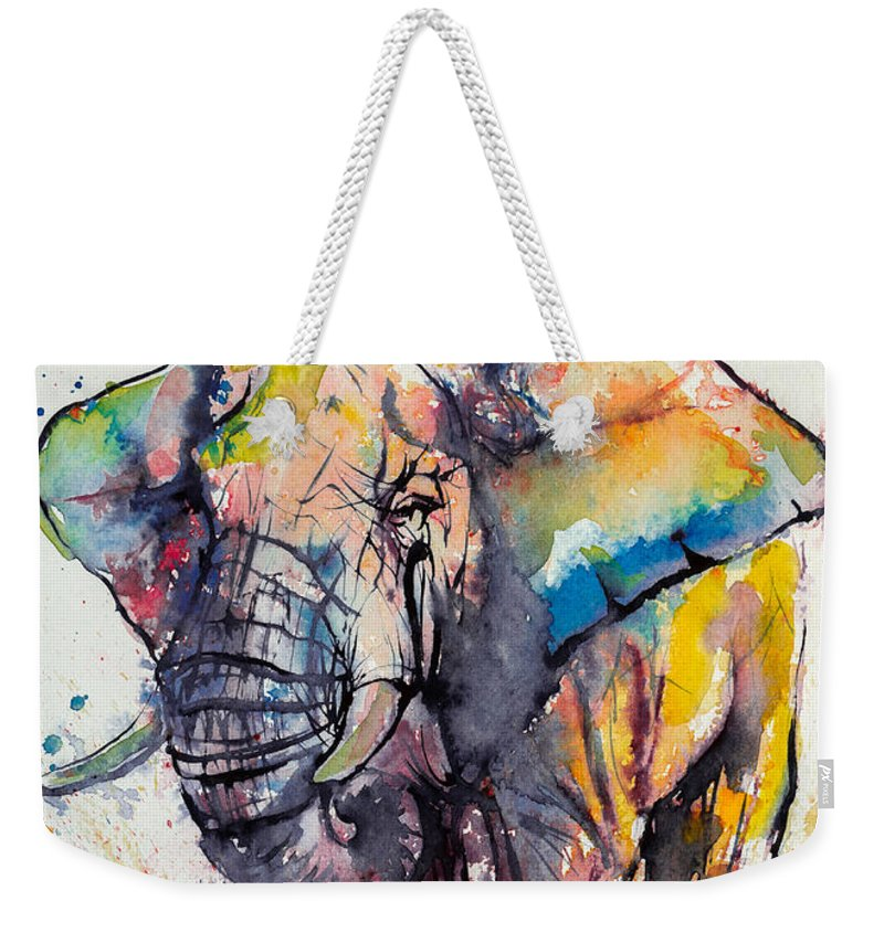 Elephant Weekender Tote Bag featuring the painting Colorful Elephant by Kovacs Anna Brigitta