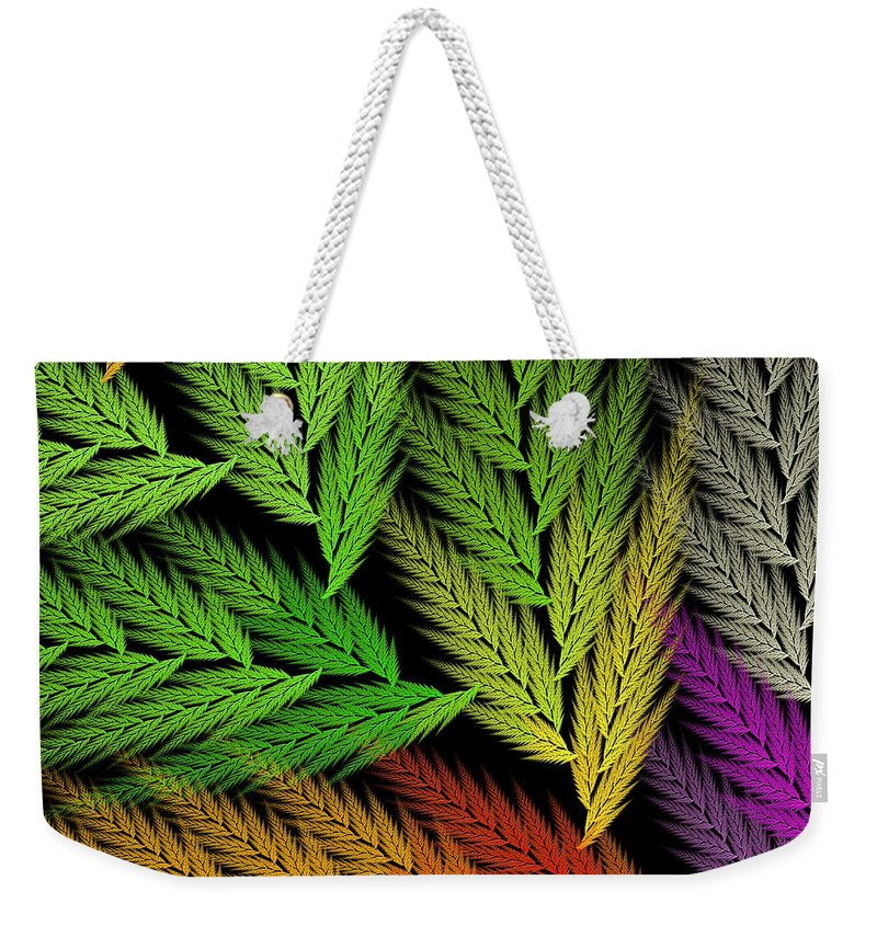 Abstract Weekender Tote Bag featuring the digital art Colorful Feather Fern - Abstract - Fractal Art - Square - 1 Tl by Andee Design