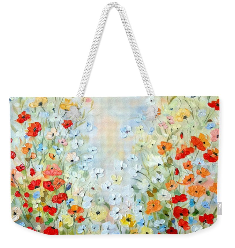 Field Weekender Tote Bag featuring the painting Colorful Field Of Poppies by Dorothy Maier