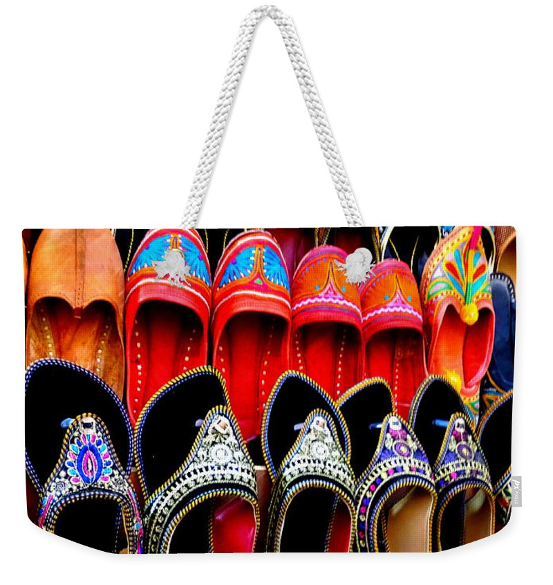 137ace284ef1 Colourful Footwear Weekender Tote Bag featuring the photograph Colorful  Footwear Juttis For Sale Jaipur Rajasthan India