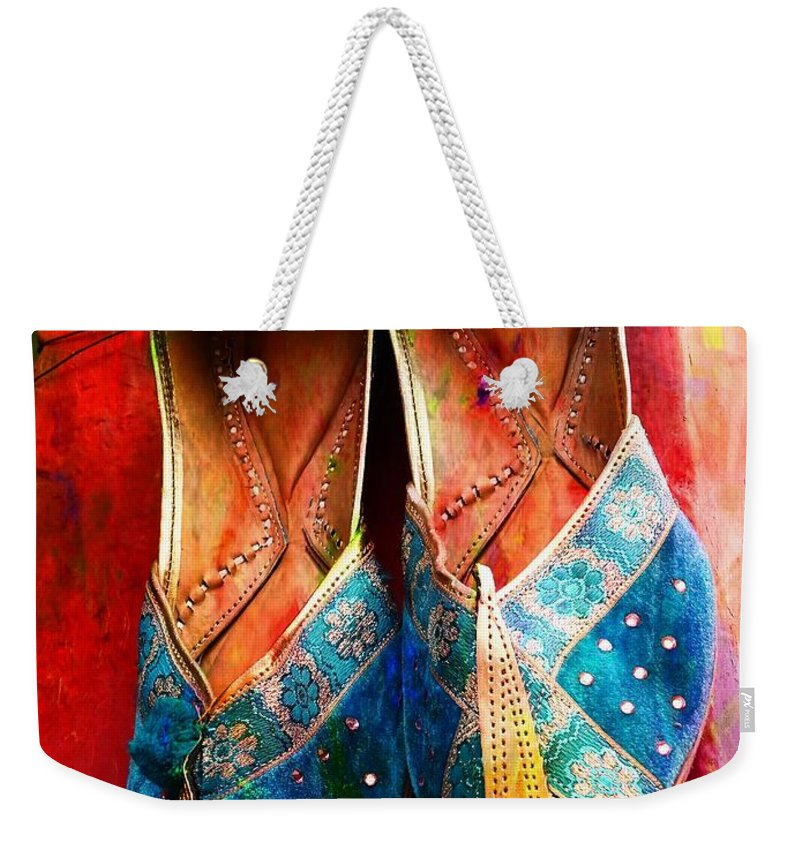 3023f42b3750 Colourful Footwear Weekender Tote Bag featuring the photograph Colorful  Footwear Juttis Sales Jaipur Rajasthan India by