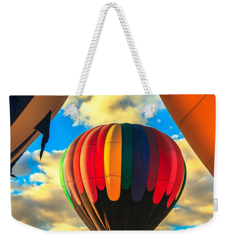 Arizonia Weekender Tote Bag featuring the photograph Colorful Framed Hot Air Balloon by Robert Bales