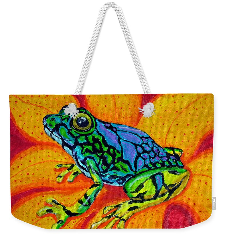 Frog Weekender Tote Bag featuring the painting Colorful Frog by Nick Gustafson