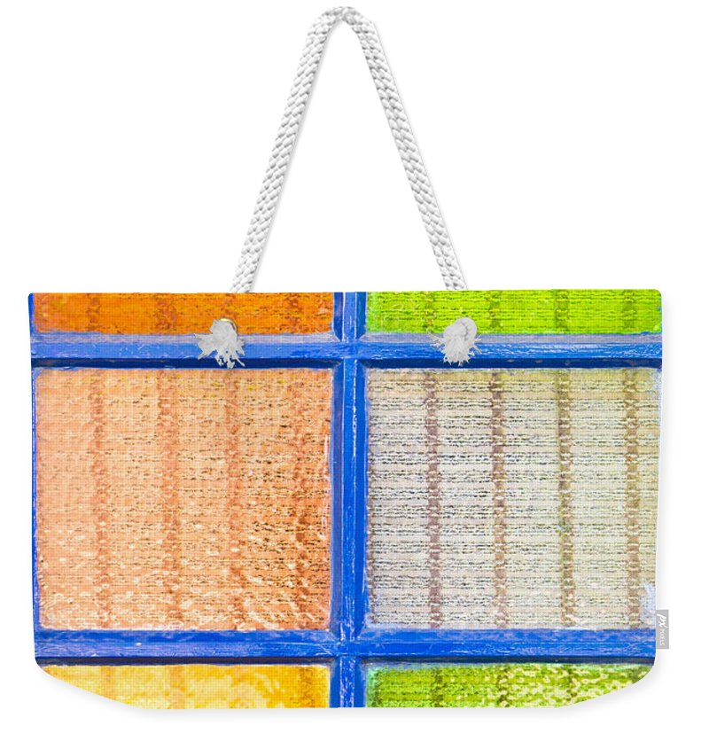 Abstract Weekender Tote Bag featuring the photograph Colorful Glass by Tom Gowanlock