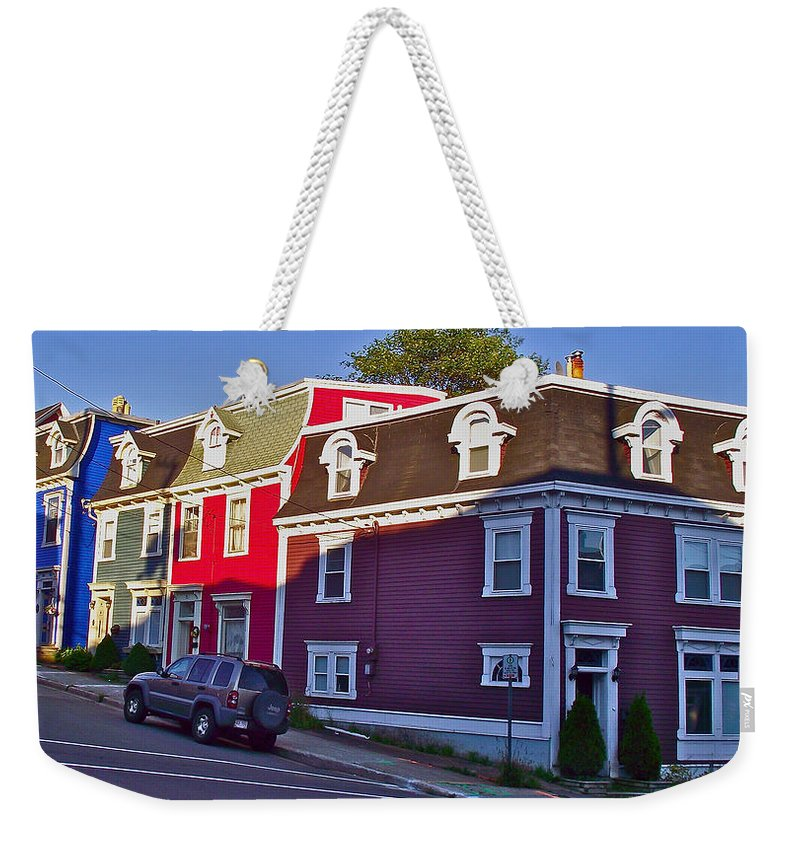 Colorful Homes In Saint John's Weekender Tote Bag featuring the photograph Colorful Homes In Saint John's-nl by Ruth Hager