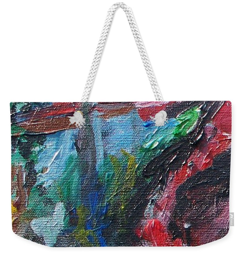 Abstract Weekender Tote Bag featuring the painting Colorful Impressionism by Eric Schiabor