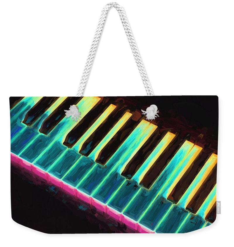 Piano Weekender Tote Bag featuring the painting Colorful Keys by Bob Orsillo