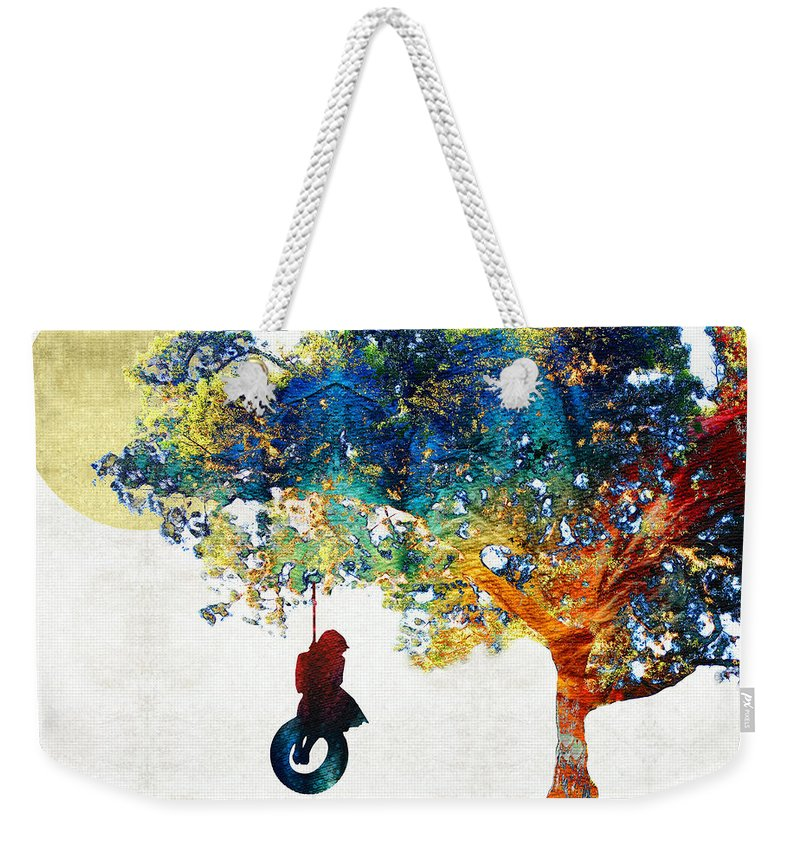 Tree Weekender Tote Bag featuring the painting Colorful Landscape Art - The Dreaming Tree - By Sharon Cummings by Sharon Cummings