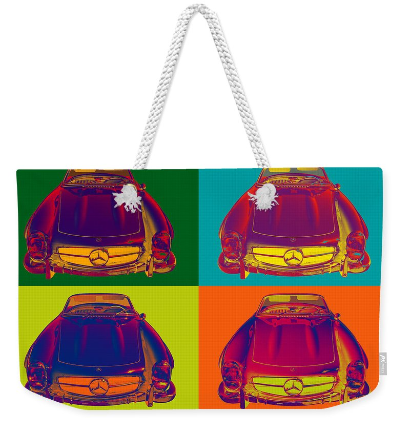Mercedes Weekender Tote Bag featuring the photograph Colorful Mercedes Benz 300 Sl Convertible Popart by Keith Webber Jr