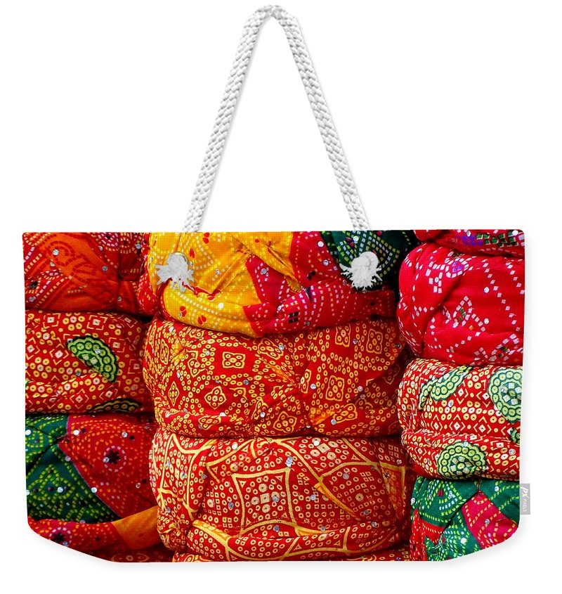 dbb02e293ced Turbans Weekender Tote Bag featuring the photograph Colorful Pagri Turbans  In Jaipur Rajasthan India by Sue
