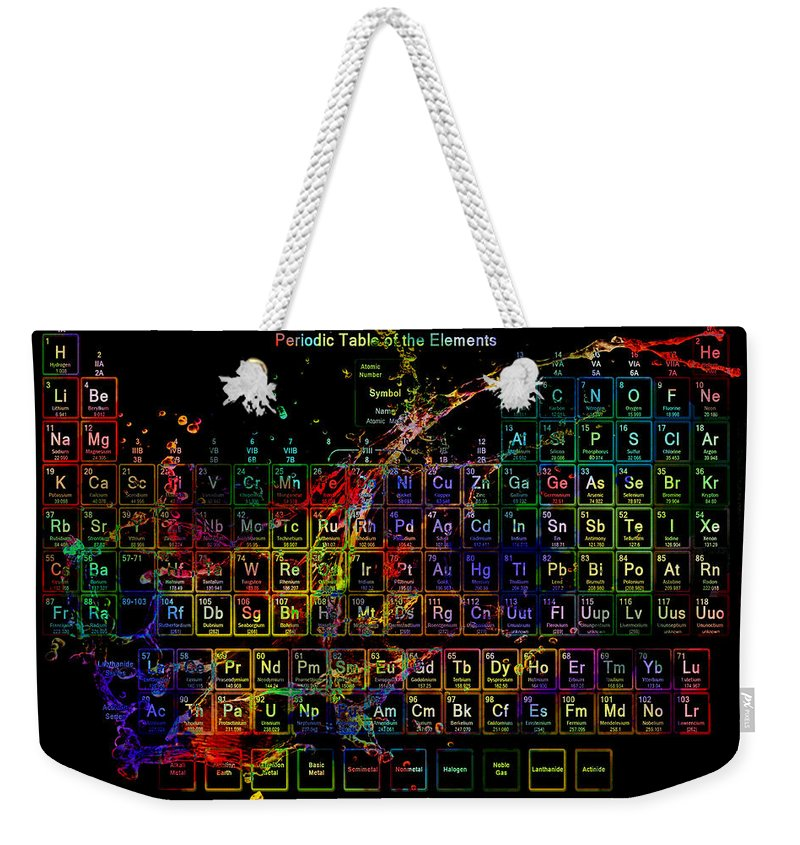 Periodic Table Weekender Tote Bag featuring the digital art Colorful Periodic Table Of The Elements On Black With Water Splash by Eti Reid