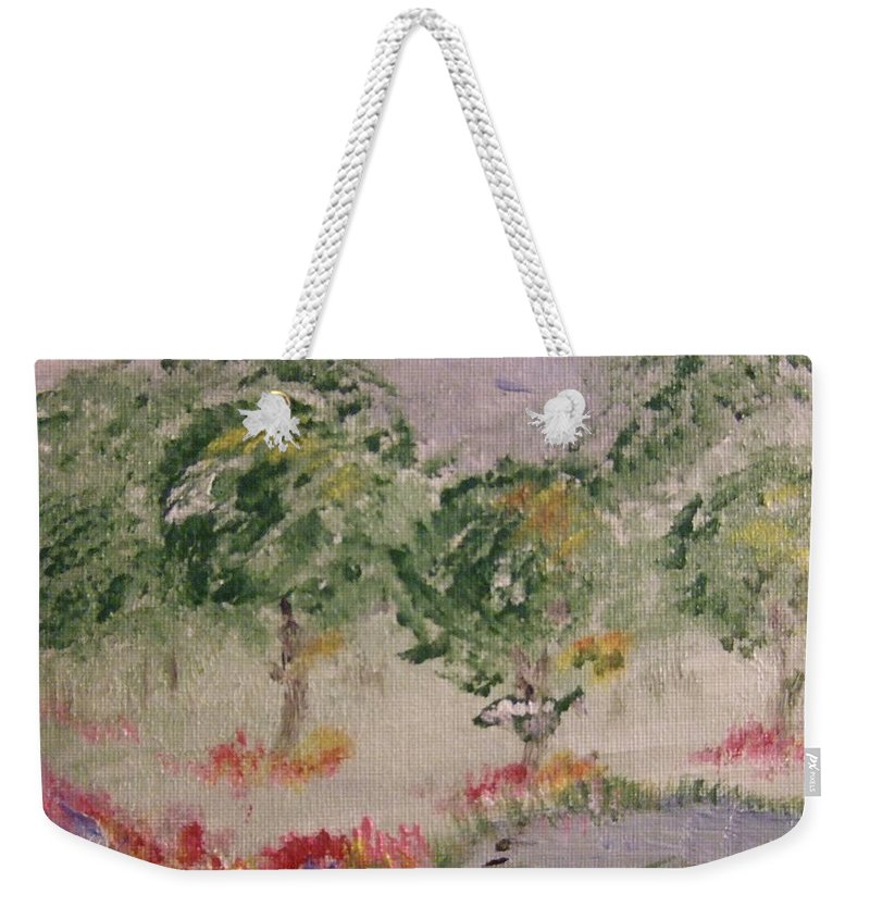 Weekender Tote Bag featuring the painting Colorful Pond by Katerina Naumenko