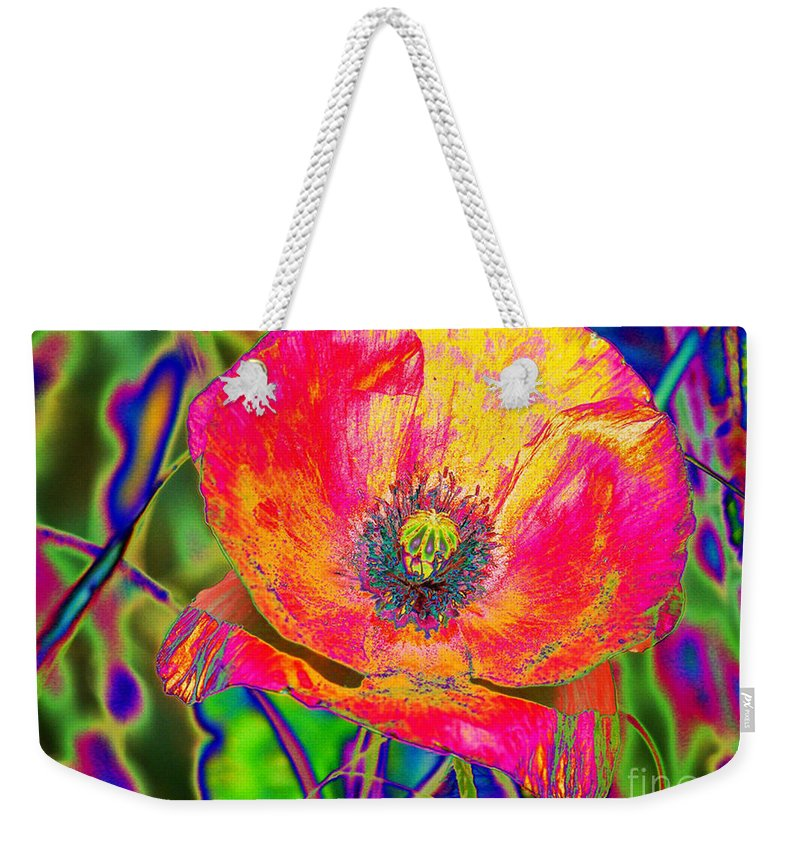 Poppy Weekender Tote Bag featuring the digital art Colorful Poppy by Carol Lynch