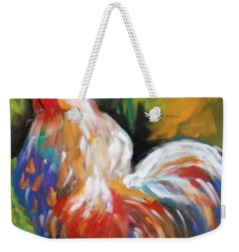 Rooster Weekender Tote Bag featuring the painting Colorful Rooster by Melinda Etzold