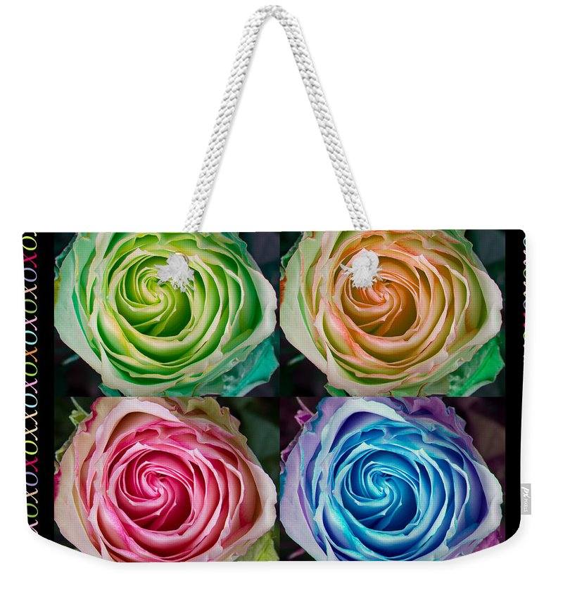 Love Weekender Tote Bag featuring the photograph Colorful Rose Spirals With Love by James BO Insogna