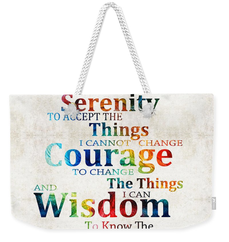 Serenity Prayer Weekender Tote Bag featuring the painting Colorful Serenity  Prayer By Sharon Cummings by Sharon 49084621e5532