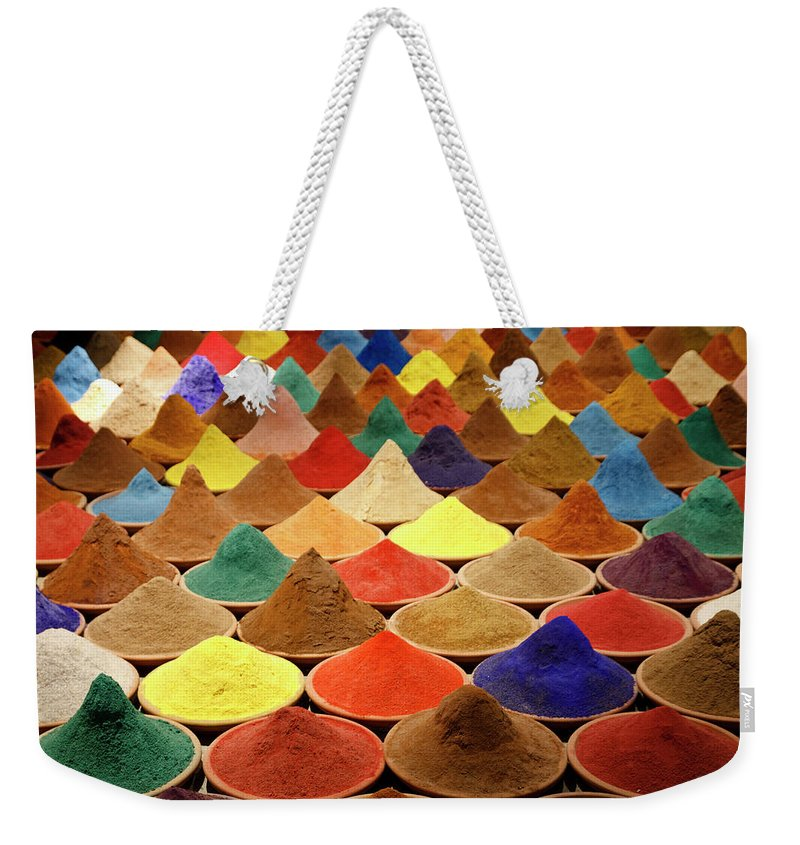 Heap Weekender Tote Bag featuring the photograph Colorful Spices by Gabriele Kahal - Www.flickr.com/photos/gabrielekahal