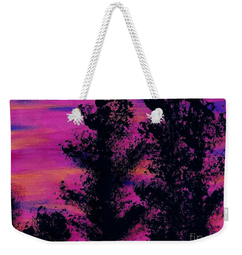 Sunset Weekender Tote Bag featuring the drawing Colorful - Sunset by D Hackett