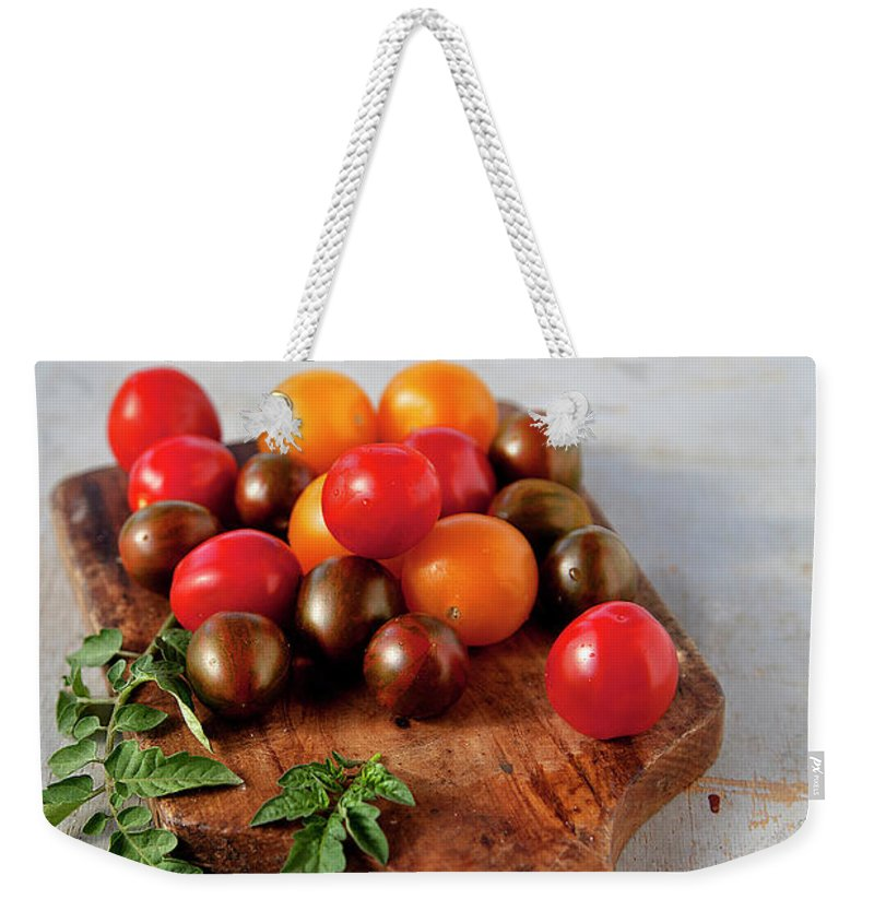 Cutting Board Weekender Tote Bag featuring the photograph Colorful Tomatoes by ©tasty Food And Photography
