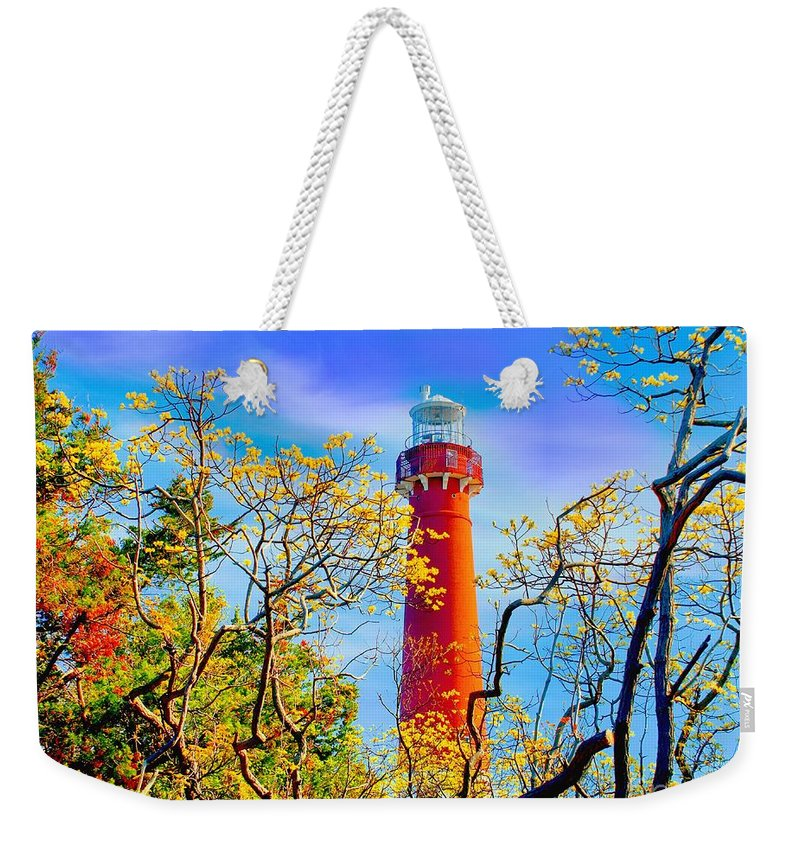 Barnegat Weekender Tote Bag featuring the photograph Colors At Barnegat Light by Nick Zelinsky