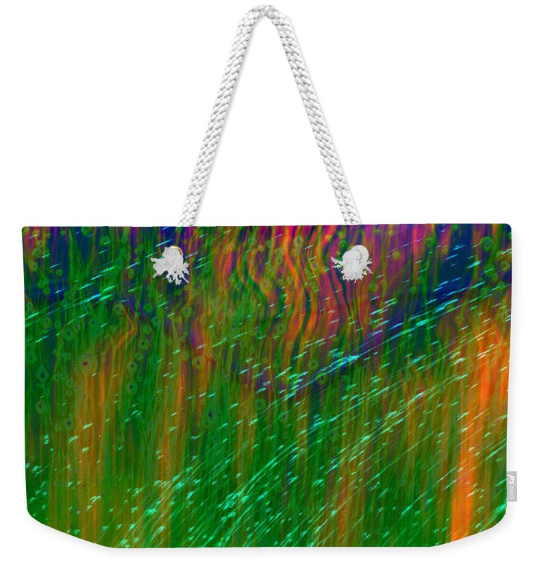 Abstract Weekender Tote Bag featuring the digital art Colors Of Grass by Linda Sannuti