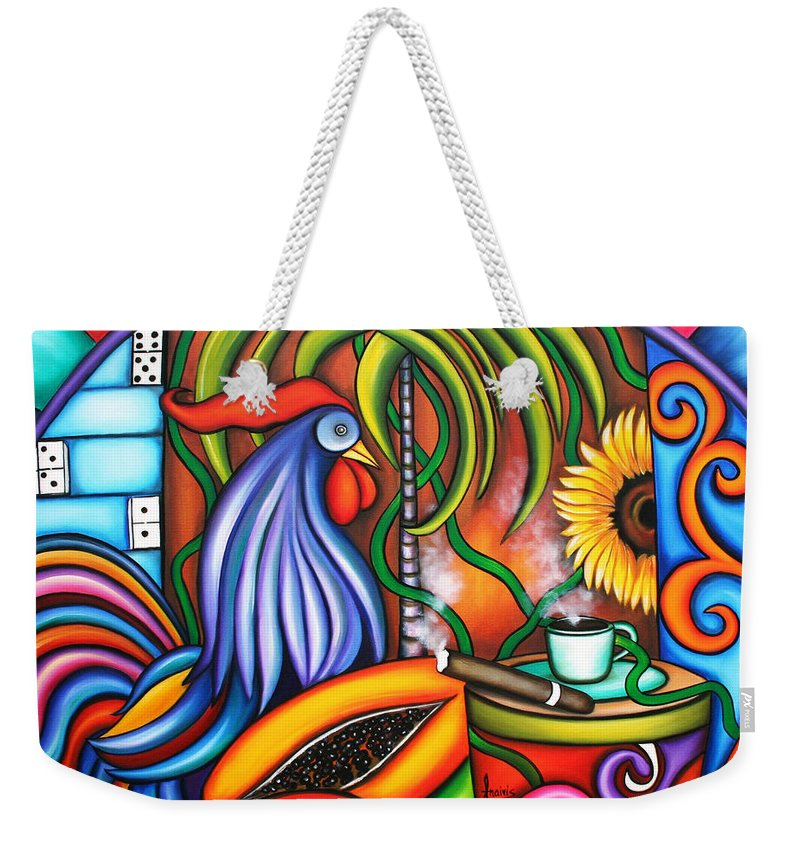 Cuba Weekender Tote Bag featuring the painting Colors Of My World by Annie Maxwell
