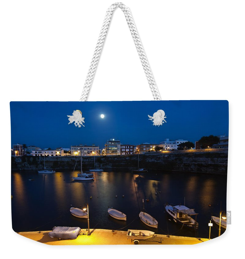 Air Weekender Tote Bag featuring the photograph Cala Corb In Es Castell - Minorca - Colors Of The Moonlight  by Pedro Cardona Llambias