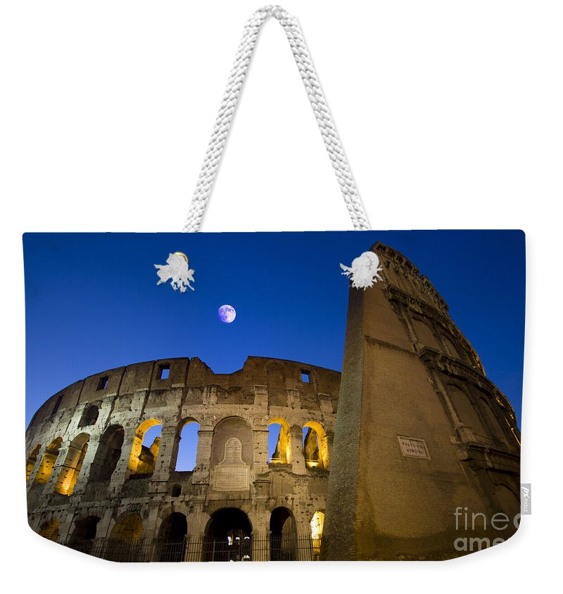 Colosseo Weekender Tote Bag featuring the photograph Colosseum And The Moon by Stefano Senise
