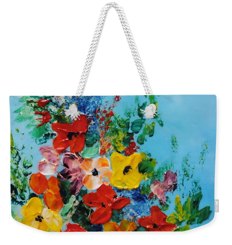 Colorful.red Weekender Tote Bag featuring the painting Colour Of Spring by Teresa Wegrzyn