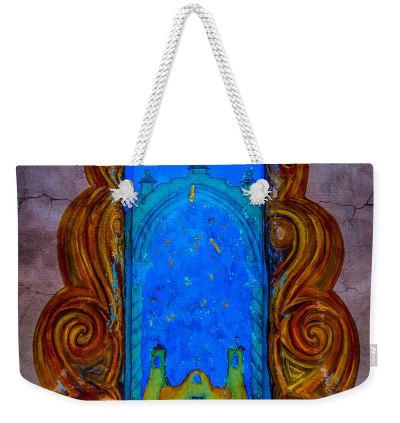 Colourful Weekender Tote Bag featuring the photograph Colourful Doorway Art On Adobe House by Gareth Burge Photography
