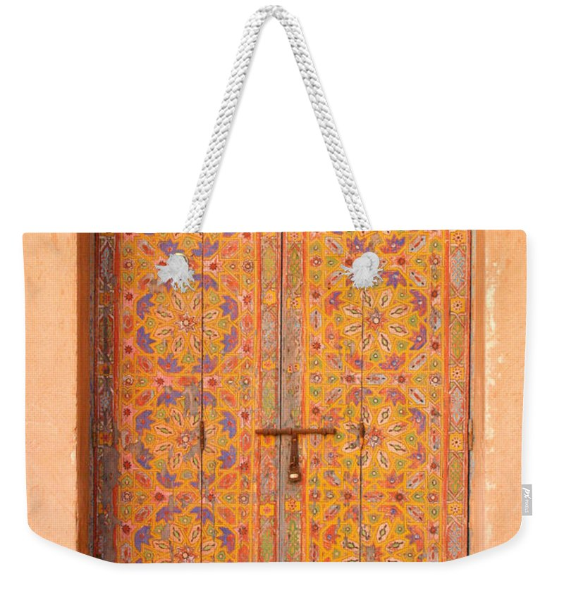 Door Weekender Tote Bag featuring the photograph Colourful Entrance Door Sale Rabat Morocco by Ralph A Ledergerber-Photography