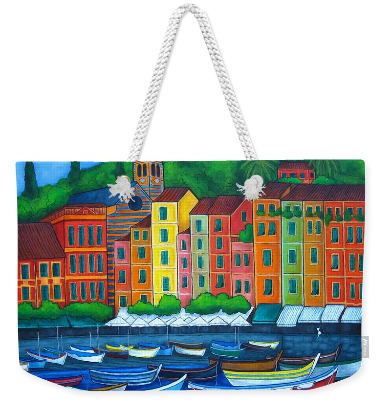 Portofino Weekender Tote Bag featuring the painting Colours Of Portofino by Lisa Lorenz
