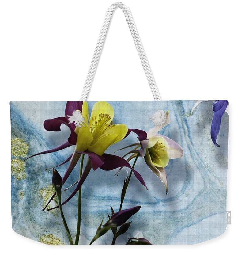 Ink Pigments On Rice Paper Weekender Tote Bag featuring the mixed media Columbine Blossom With Suminagashi Ink by Peter v Quenter