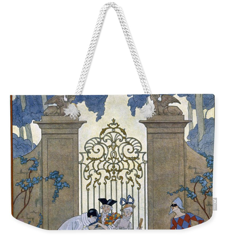 Harlequin Weekender Tote Bag featuring the painting Columbine by Georges Barbier