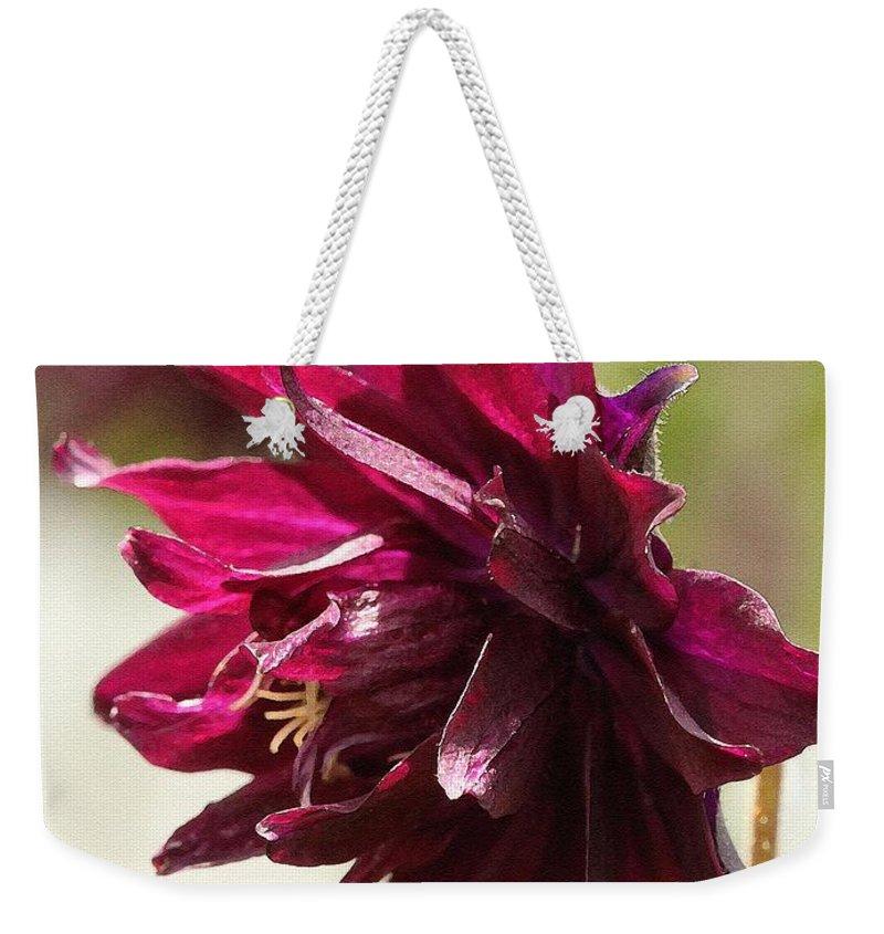 Columbine Weekender Tote Bag featuring the painting Columbine Named Miss Mi Huish by J McCombie