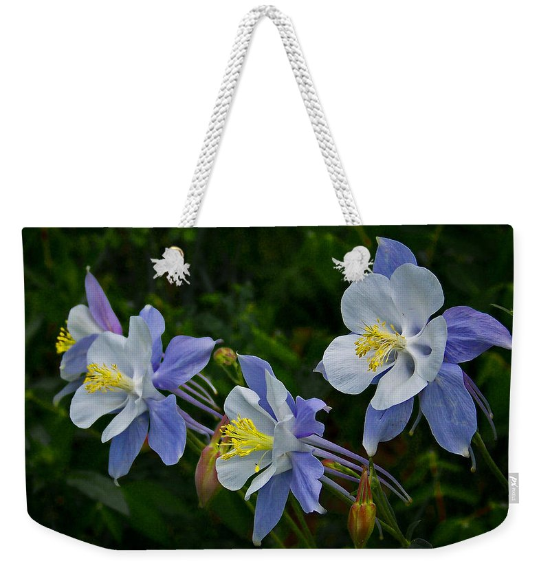Artwork Weekender Tote Bag featuring the photograph Columbines by Ernie Echols