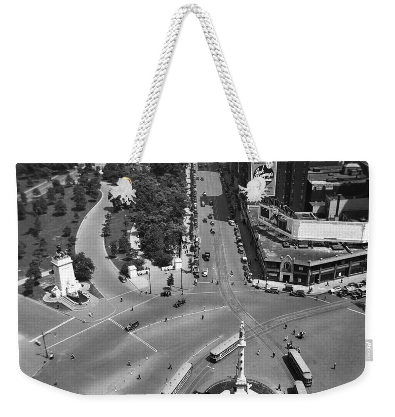 1930 Weekender Tote Bag featuring the photograph Columbus Circle by Underwood Archives