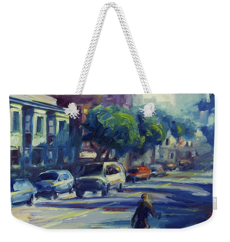 Cityscape Weekender Tote Bag featuring the painting Columbus Street by Rick Nederlof
