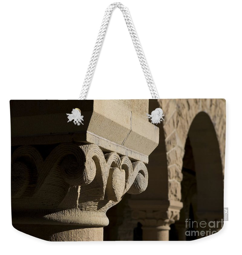 Column Weekender Tote Bag featuring the photograph Column Detail Stanford California by Jason O Watson