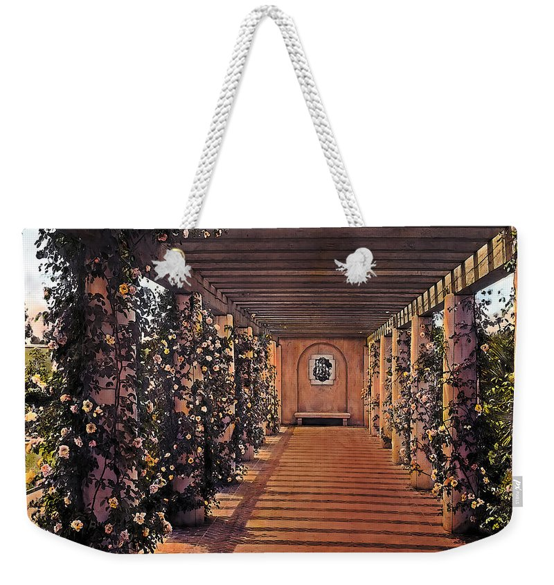 Tranquil Weekender Tote Bag featuring the painting Columns And Flowers 2 by Terry Reynoldson