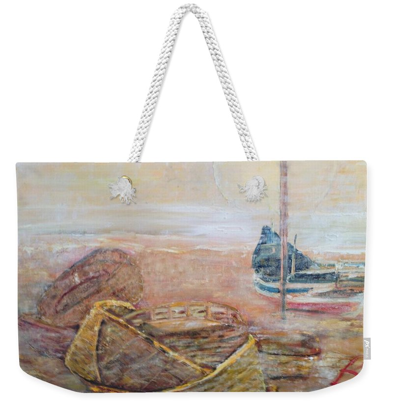 Beach Weekender Tote Bag featuring the painting Colva by Peggy Blood