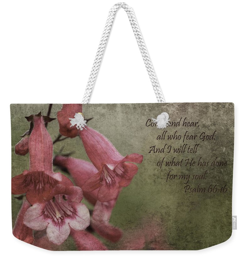 Master Gardener Weekender Tote Bag featuring the digital art Come And Hear by Karen Forsyth